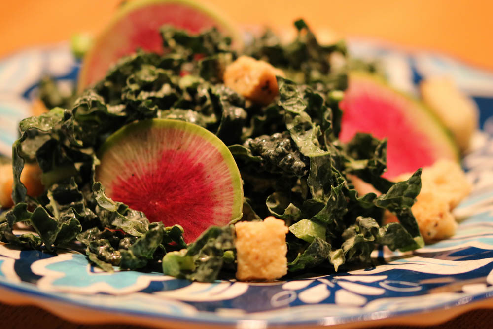 Kale with Creamy Green Goodness and Watermelon Radish