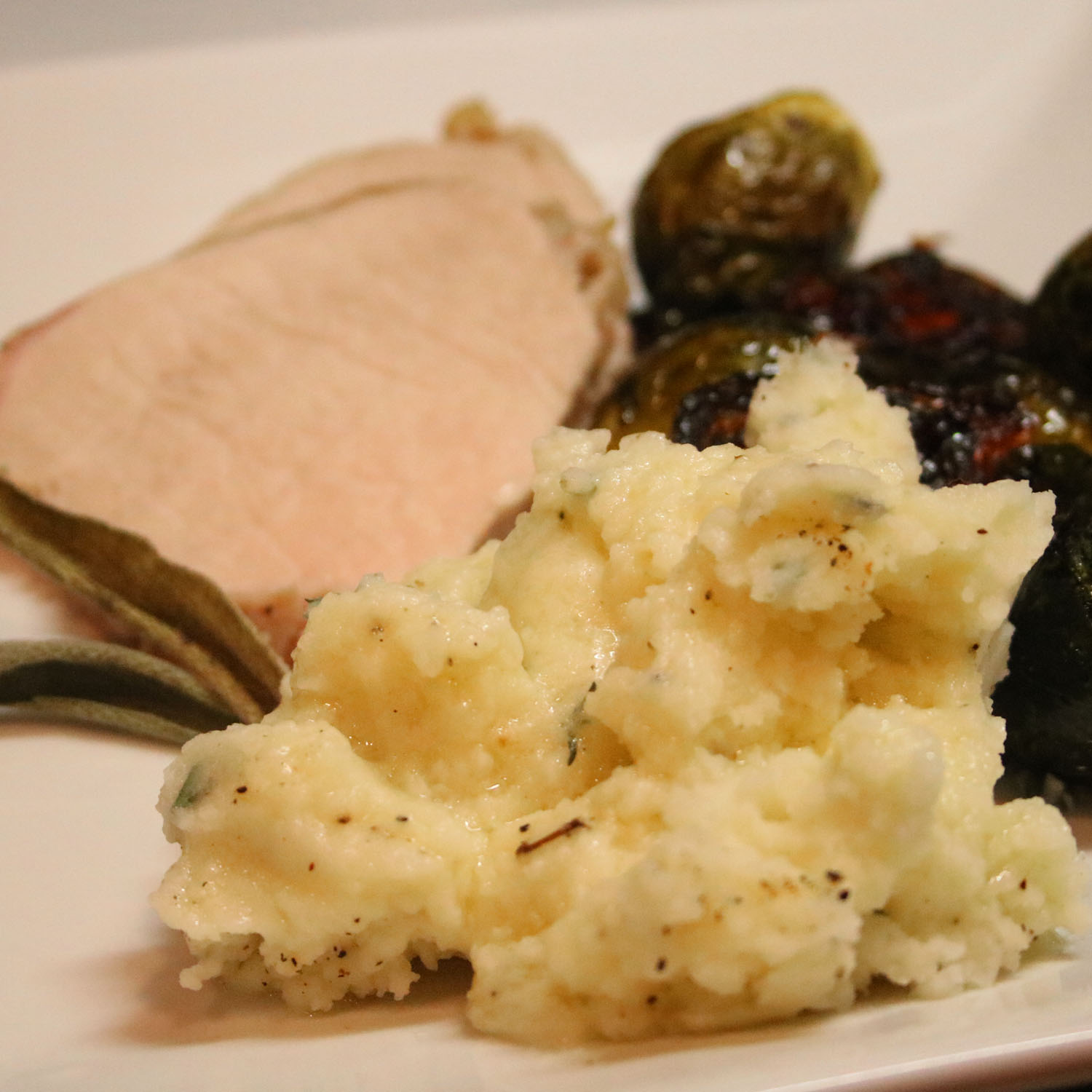 Goat Cheese and Thyme Mashed Potatoes with Roast Pork and Brussel Sprouts