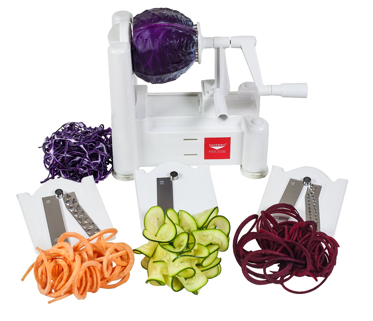 Paderno Spiral Vegetable Slicer surrounded by sliced vegetables