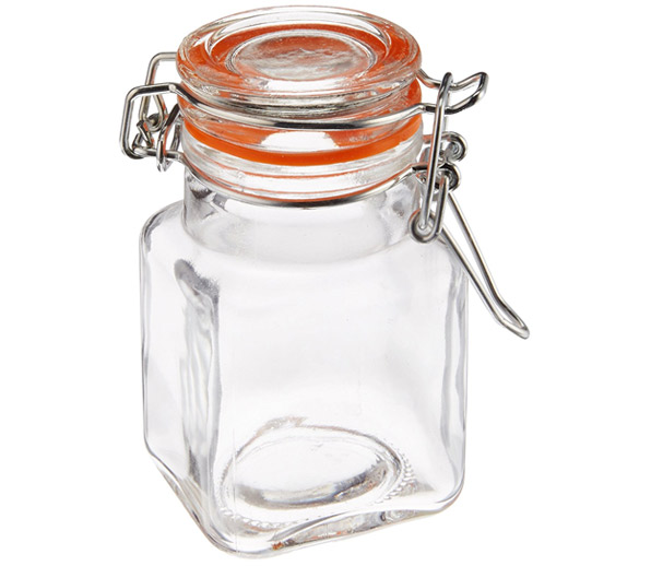 Square Glass Spice Jars (set of 24)