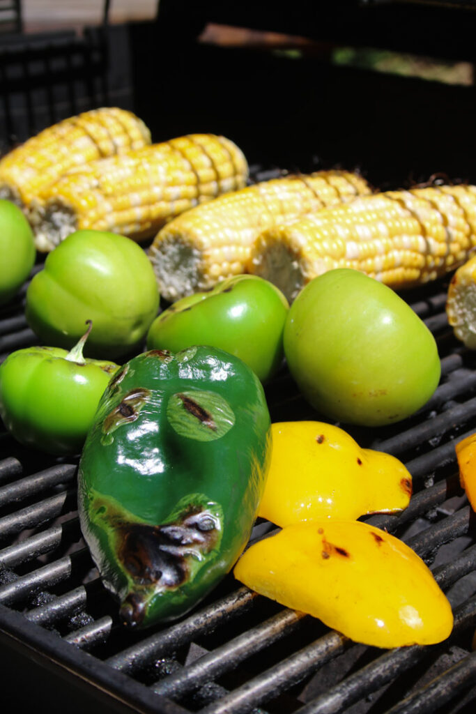 Corn, Tomatillos, Bell Peppers and Poblano on the Grill
