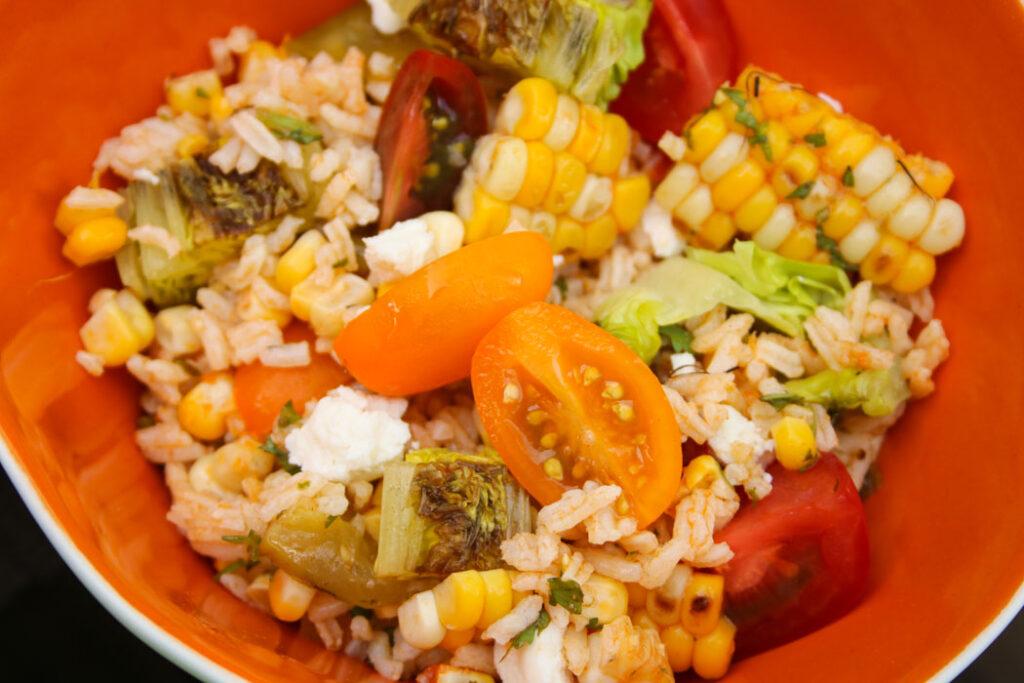 rice, grilled veggie, salad