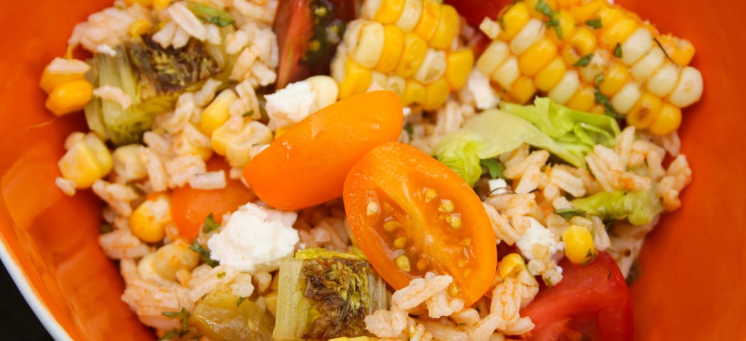 rice, grilled veggie, salad