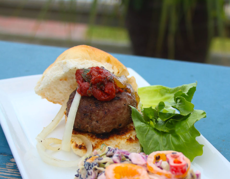 Lamb Slider with Smoked Tomato Mint Jam