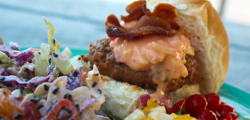 Firecracker Cole Slaw with a side of Burger