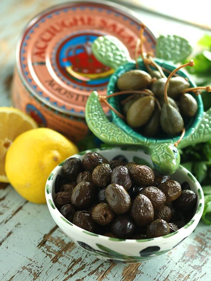 Oil-Cured Olives, Caper Berries, and Salted Anchovies