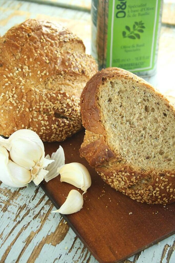 Sourdough Bread Rubbed with Garlic and Olive Oil
