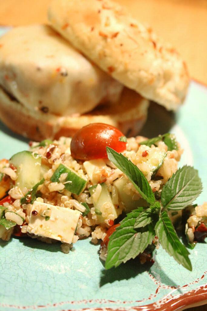 Burger and a Salad - a Greek Salad with Quinoa