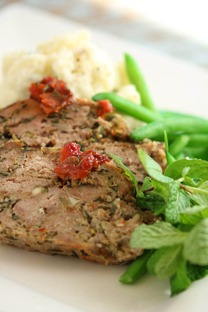Greek Meatloaf with Mash and Shallot Green Beans