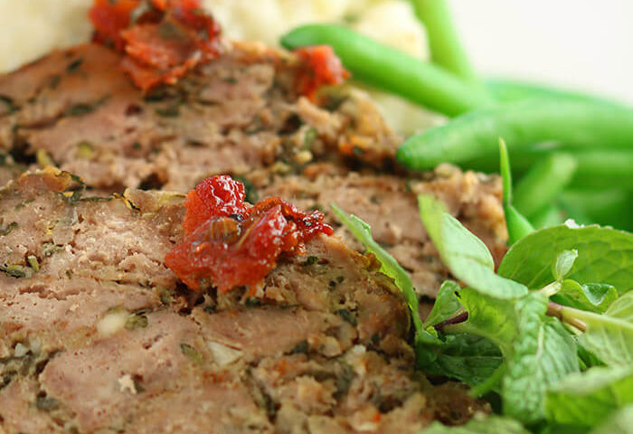 Greek Meatloaf with Mash & Shallot Green Beans