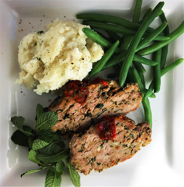 My Big Fat Greek Meatloaf with Goat Cheese & Thyme Mash