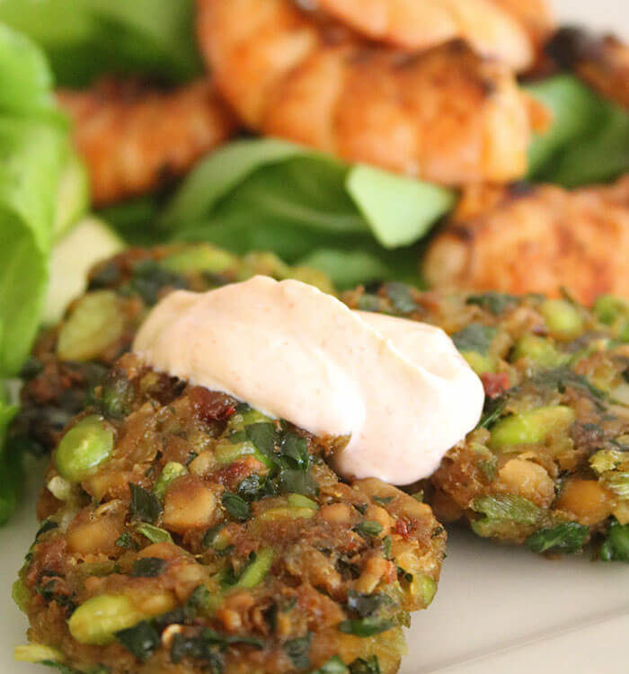 Edamame & Chickpea Fritters
