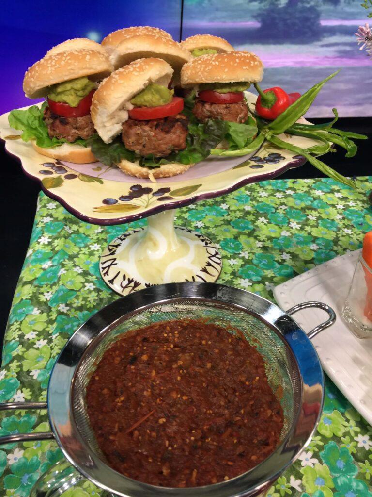 Draining Salsa to Make Turkey Burger