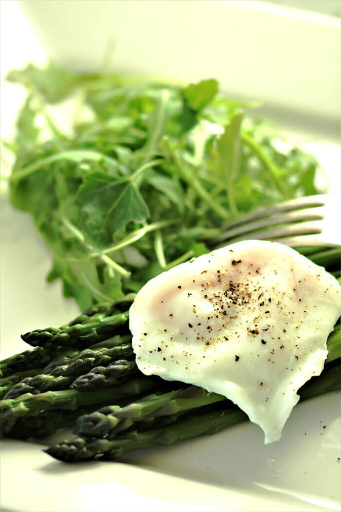 Asparagus topped with a Poached Egg