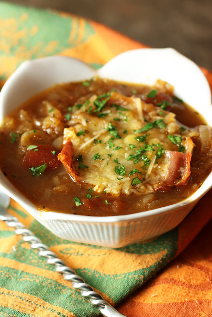 Cipolline Onion Soup with Prosciutto Parmesan Crust