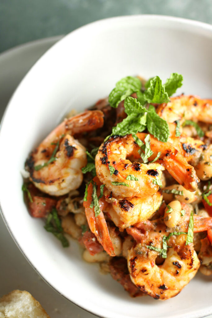 Shrimp & White Beans with Roasted Garlic & Mint