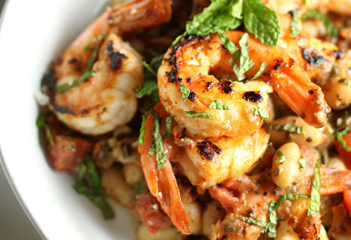 Shrimp and White Beans with Roasted Garlic & Mint