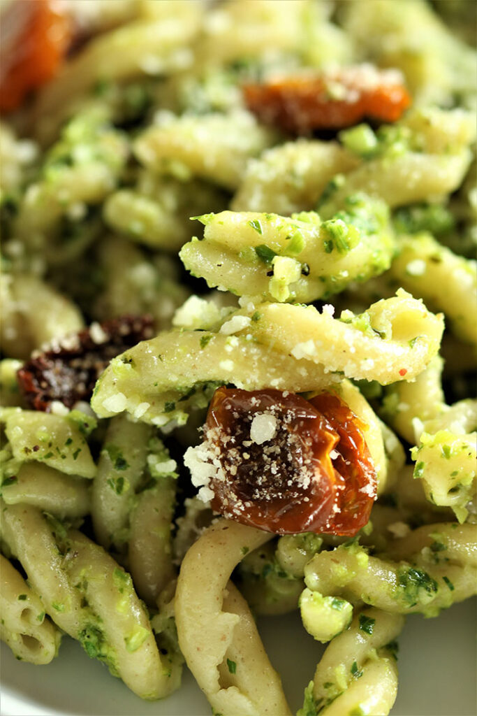 Scape Pesto on Gemelli with Oven-Dried Tomatoes