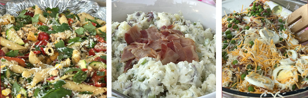 Salads: 7 layer + potato+ pasta zucchini