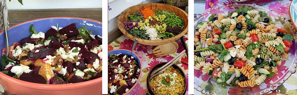 Salads: beet + super foods salad + Greek pasta