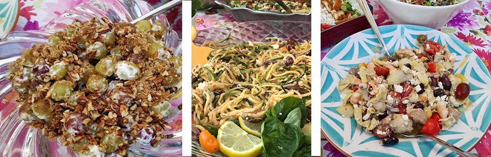Salads: grape + zoodles + shrimp