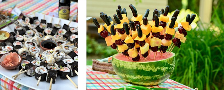 Boozy Fruit and Sushi on a Stick