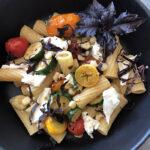 Skillet Burst Tomatoes Pasta with Fresh Mozzarella