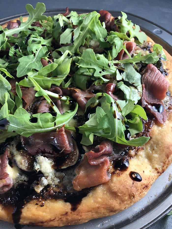 Fig, Cambozola and Prosciutto Pizza with Arugula
