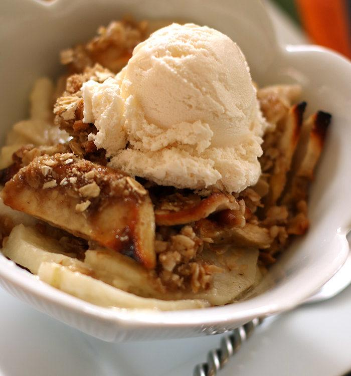 Apple Crisp with Ice Cream