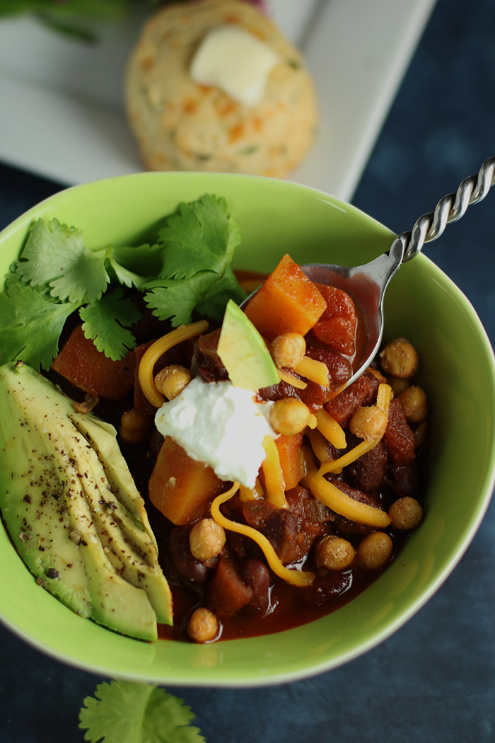 Butternut Squash Chili with Toppings