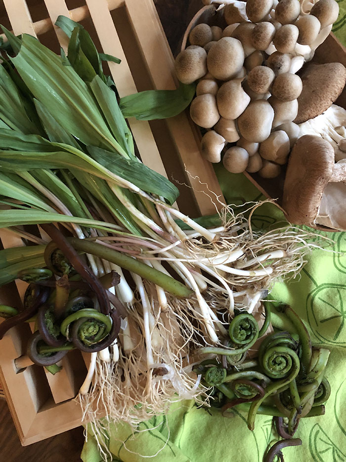 Fiddlehead ferns, ramps and wild mushrooms