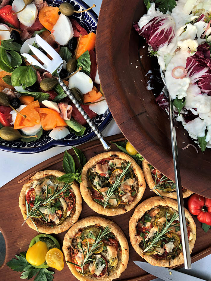 Caprese, Shaved Cauliflower and Goat Heirloom Tomato Tarts