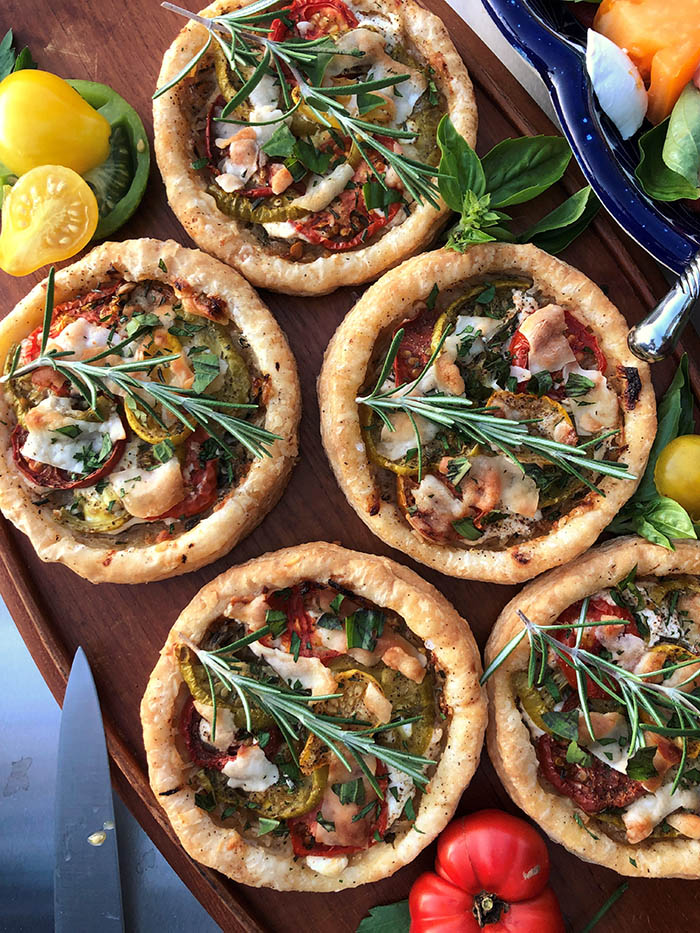 Goat cheese & Heirloom Tomato Tarts