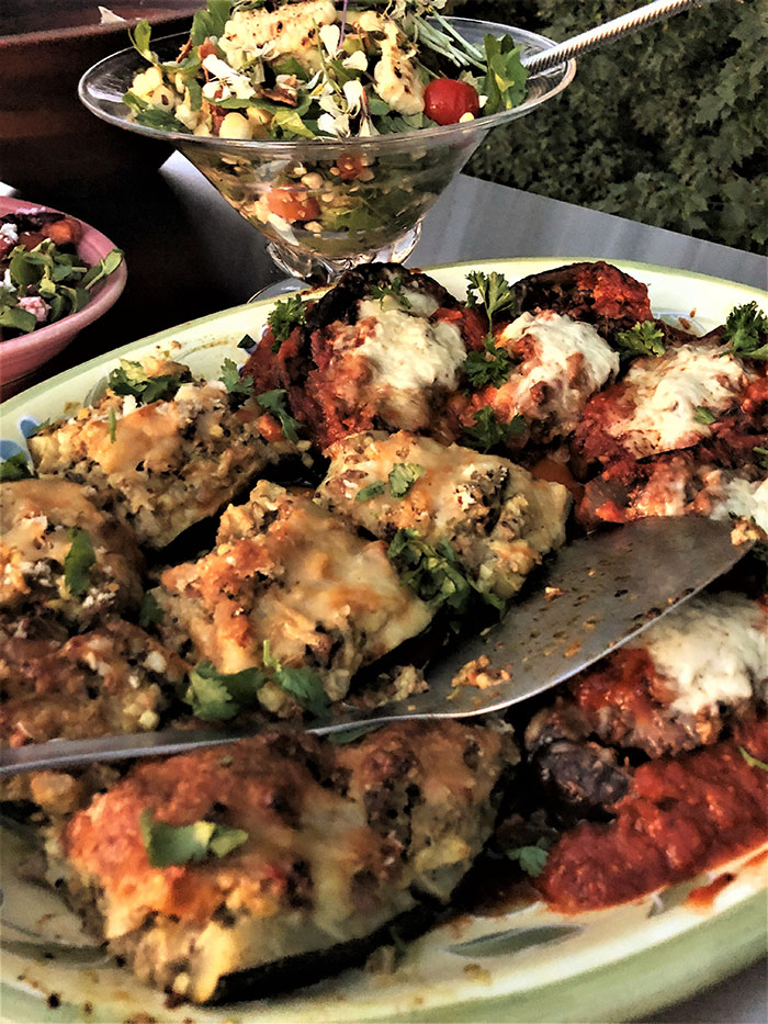 Stuffed zucchini and eggplant