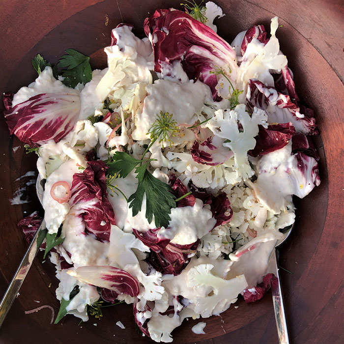 shaved cauliflower + smoked whitefish mayo