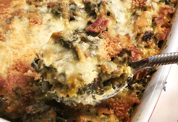 Casserole dish with rainbow chard and leek gratin