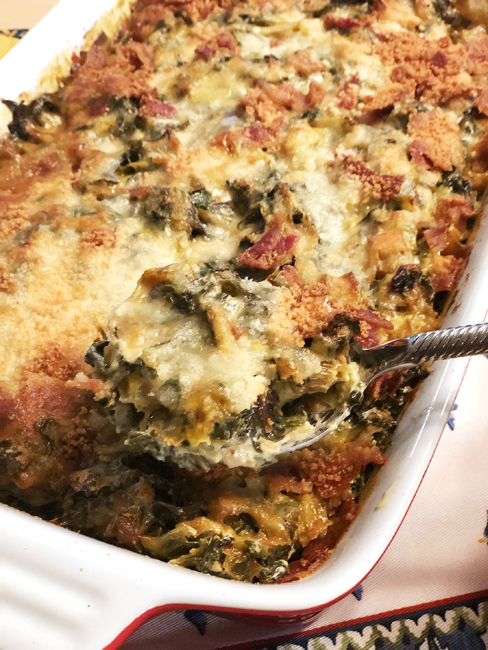 Casserole pan of leek and rainbow chard gratin