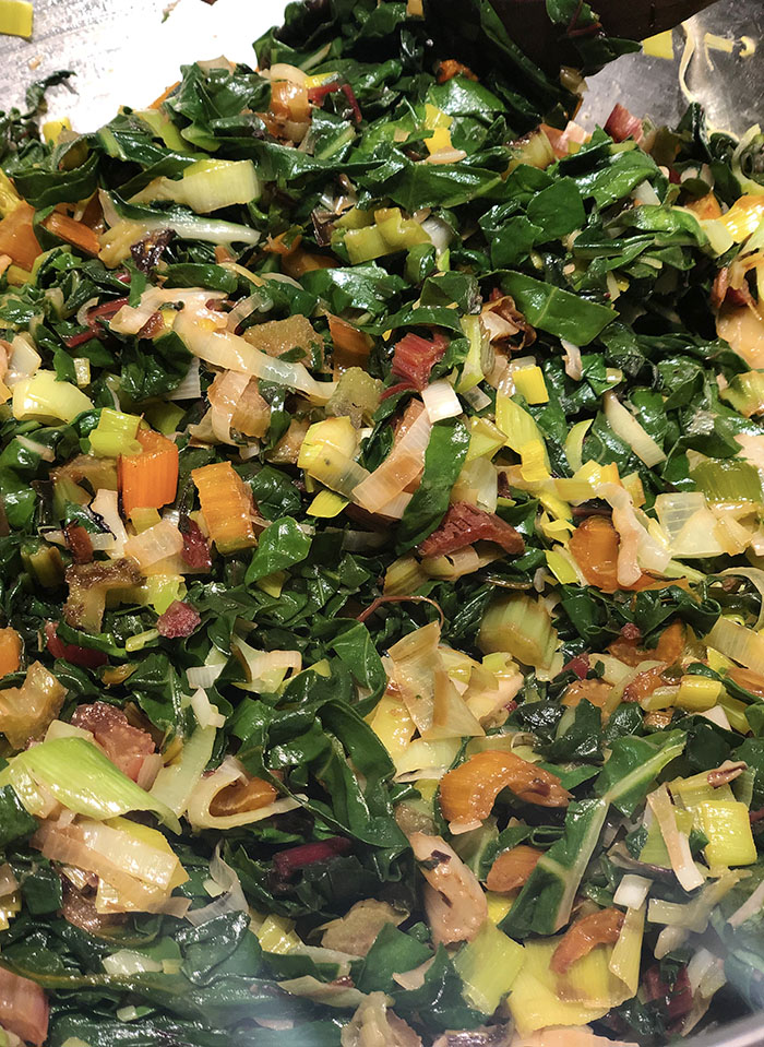 sauteed chard leaves and stems